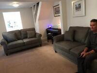 Next grey leather sofas