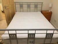 Metal frame double bed with nearly new mattress (Miracoil Silentnight)