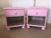 Hand crafter pink decoupaged bedside tables