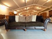 Tetrad Montana Brown Leather & Fabric Grand Sofa Rare
