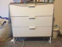 White Ikea Dresser with 3 Drawers