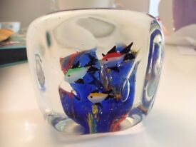 Vintage Murano Glass Aquarium Paperweight