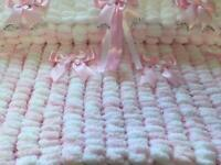 Hand knitted baby's pram or crib blankets 19x21 inches make lovely new baby gift
