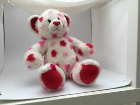 Red and white love heart build a bear ,standard 18 inch high bear , genuine build a bear