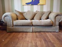 Big beautiful comfy 2 seater Skopos sofa neutral earth tones