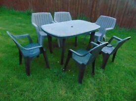 Plastic Table and 6 chairs