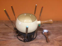 Vintage 1970's FONDUE set - cream enamel with six forks and meths burner, great condition