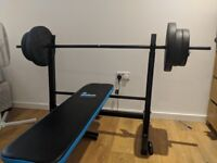 Weight bench & 50kg weights (barbell & dumbells)