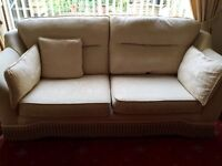 For Sale. Cream 3 Seater Sofa. Self Patterned Brocade Type Fabric