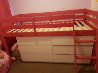 pink wooden mid sleeper girls bed