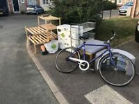 Furnitures for free, cupboard, bicycle, baby travel cot, tv stand