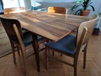 Vintage Danish dining table and 4 chairs