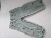 Ladies Girls cargo shorts 3/4 trousers khaki Size 8