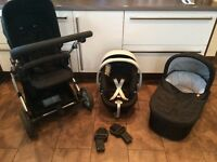 Car seat , carry cot , reclining chair , used, in good condition some signs of wear to frame of pram