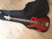 Yamaha bass with bag and tourbus amp