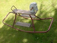 OLD 1950s TRIANG ROCKING HORSE STEEL FRAMED