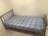 Single bed with mattress - metal frame