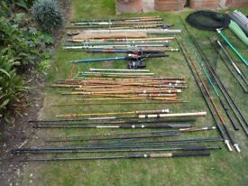 LARGE AMOUNT OF FISHING GEAR RODS, POLES ETC
