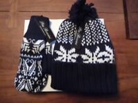 Women's NEW Fairisle Hat and Mittens Set