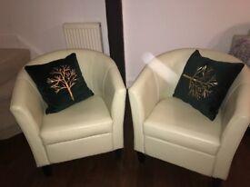 leather bucket style armchair