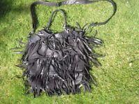 Funky 'Top Shop' Black Leather Tassel Bag