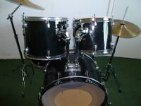 5 pce drum kit black with cymbals and stands sticks and bag