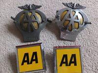 AA Badges. Authentic & Genuine vintage Automobile Association badges x 4.