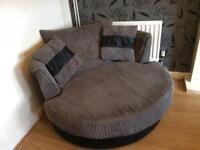 Dark grey chenille cuddle chair