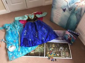 Disney Frozen Girls Bundle - Dresses, picture and playset