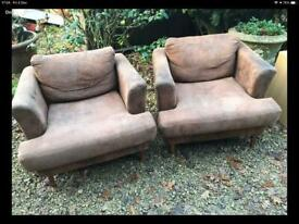 CHOCOLATE BROWN FAUX SUEDE EFFECT/LEATHER CLUB CHAIRS.