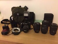 Nikon D90 Digital SLR Camera 4 lenses Speed Flash and Ring Flash