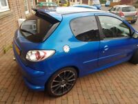 Sporty looking Peugeot 206 for sale. Mot till 2018. Mechanically sound
