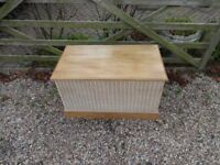 SOLID WOOD --CHEST / TRUNK / OTTOMEN --WITH WICKER SURROUND --LARGE SIZE --