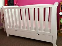 Kiddicare White sleigh style cot bed