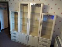 Caxton Display Cabinets With Drawers and Glazed/Solid Doors + Coffee Table (Maple)