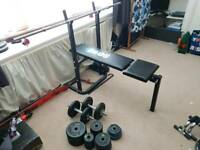 Weights bench, barbel, dumbell and plates