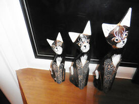 set of 3 lovely real wood cats all handcarved and painted