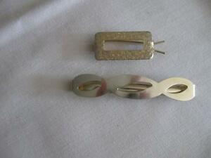 TWO CLASSY MOTHER / DAUGHTER GOLDTONE HAIR CLIPS