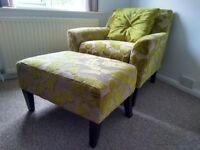 Chair & Footstool - Stunning Quality Armchair with Footstool