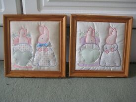 Pair of Bunny Rabbit Applique Figures in Wooden Frames - Handmade