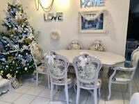 SHABBY CHIC FRENCH ROCOCO DINING TABLE AND CHAIRS