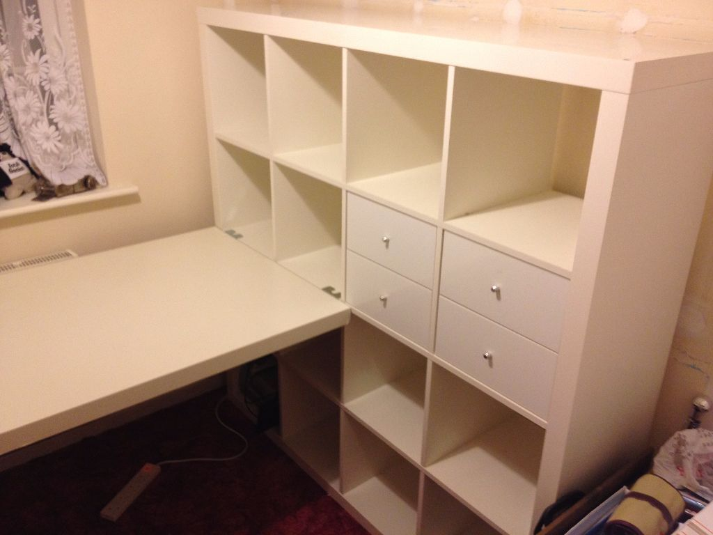 ikea expedit not kallax 4x4 squares and desk in raunds northamptonshire gumtree. Black Bedroom Furniture Sets. Home Design Ideas