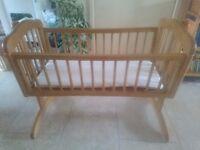 Wooden Swinging Crib with Mattress