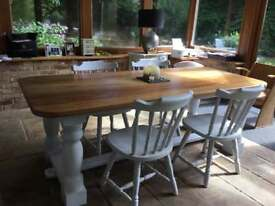 Farmhouse table with four chairs large size