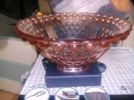 Pink glass fruit bowl