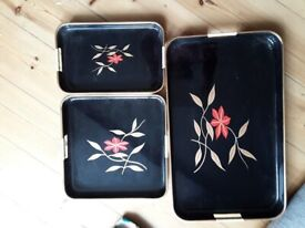 Vintage Lacquered trays set of three