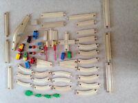 Wooden train set. Brio & ELC. 55 pieces including trains with bridge crossings & junctions
