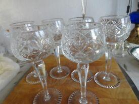 Set of 6 crystal wine goblets