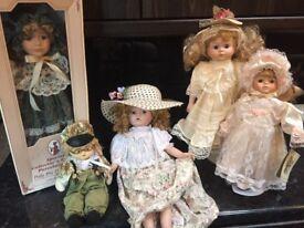 5 collectors porcelain dolls