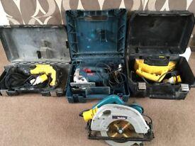 Dewalt hammer drill/ dewalt planer/makita circular saw/ bosch jigsaw all 110v